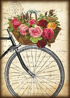 Antigua bicicleta con cesta de rosas Collage Digital por GalleryCat