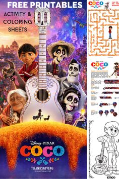 Disney Pixar Coco Printable Activity Sheets and Coloring Pages #PixarCoco