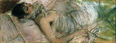 """Giovanni Boldini ,"""" La Contessa Rasty  coricata"""", 1880, pastello su tela applicata su carta, collezione privata . A partire dagli anni Ottanta,  è la Contessa de Rasty, mora e sensuale, la figura di spicco dei suoi dipinti. Sarà lei, poi, ad accompagnarlo nei salotti della Parigi belle époque, dei quali era assidua frequentatrice."""
