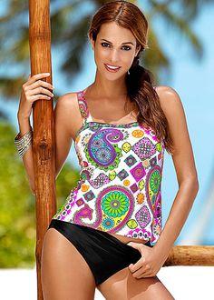 MULTI PAISLEY Tankini top, high waist moderate from VENUS