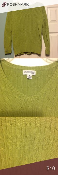 V-neck sweater *St. Johns Bay* Pretty lime green sweater. Cable knit design. Only worn a few times. Great condition St. John's Bay Sweaters V-Necks