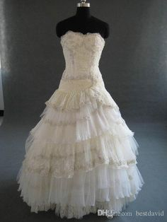 Designer Marina Asymmetrical Lace A Line Wedding Dress Organza Layered Applique Beading Sweep Train Strapless Bridal Gowns Custom Made On Sale Wedding Dresses Satin A Line Wedding Dress From Bestdavid, $190.96| Dhgate.Com