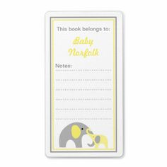 Mother and Baby Elephants Yellow Gray Bookplates