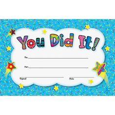 Congratulations You Did It Certificate Beautiful You Did It Awards Certificates Printable Certificates, Award Certificates, Certificate Design, Certificate Templates, Cover Letter Template, Letter Templates, Future Classroom, Classroom Decor, Simple Cover Letter