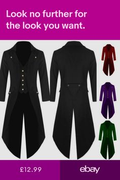 79e78b92ed4 New Mens Vintage Steampunk Tailcoat Jacket Gothic Victorian Frock Coat Lot