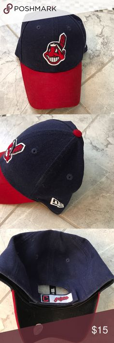 Cleveland Indians  New Era Hat New Era Cleveland Indians  Cap - Comes from a smoke free home - worn but in great condition - Velcro strap New Era Accessories Hats