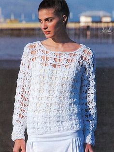 White Long Sleeved Openwork Top free crochet graph pattern