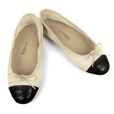 Porselli Ballet Flat 0,5 cm heel Bone with Black Cap
