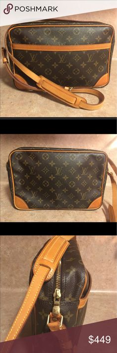 Louis Vuitton TROCADERO 30 Cross Body Bag Gently Used AUTHENTIC LV with beautiful honey colored patina! OUTSIDE-LEATHER/STRAP intact, tear free. CORNERS scuff/tear free. INSIDE is tear/ink/stain free. INSIDE POCKET peeling. ZIPPER works perfect. ALL BRASS HARDWARE is tarnish free. Please see all pictures. Happy Shopping 😍🛍👜👛 Louis Vuitton Bags Crossbody Bags