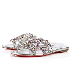 """Dream big this season in """"Octolady Flat"""". This sumptuous slipper is decorated in a breathtaking chain-lined Swarovski crystal octopus embellishment with pearl eyes. Perfect your summer ensembles with this masterpiece of a shoe."""