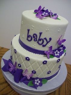 6 and 8 inch tiers iced in buttercream with fondant decorations.
