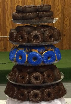 Thin blue line doughnut tower at the dessert table. So fitting since Jake's a cop and doesn't like cake