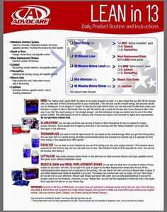 Product guide for Lean in 13 #AdvoCare