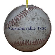 Personalized Baseball Ceramic Ornament via @lasgalenarts • Round things make cool round #Ornaments. Current discount coded continually updated via THIS link: http://TeeLoft.com/175562869303171455?tc=WITHCOUPON