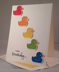 Rainbow Rubber Duckies Birthday Card from stampinwithpassion.blogspot.com Would be so cute as a new baby card, too!