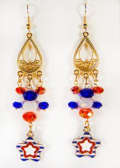 1372H  Patriotic earrings patriotic by EarringsBraceletsEtc