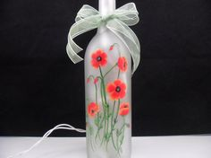 Lighted Etched Wine Bottle Red Poppies Hand Painted Recycled 750ml