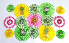 Flamingo and Pineapple Theme, Paper Fans, Pineapple & Flamingo Backdrop, Hawaiian Theme, Baby Shower Backdrop, Sweet 16, Bachelorette Party