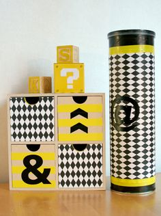 Box dressed in black, white & yellow.
