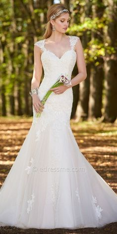 Camille La Vie Lace Cap Sleeve Wedding Dress at eDressMe #affiliatelink