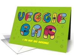 Veggie bar. Artistic colorful funny font. Custom text card (1444758)