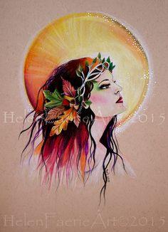 Autumn Sun Goddess Pagan Gifts Birthday gift by HelenFaerieArt