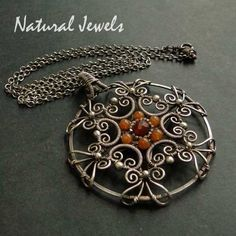 Sterling and fine Silver and Carnelian Necklace by Natural Jewels at Etsy