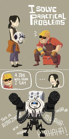"""Someone Get an Engineer"" by ~tribute27 on deviantART - Portal and Team Fortress 2 mashup"