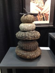 Stone cairn basket sculpture made from kudzu, poplar bark, laurel . Willow Weaving, Basket Weaving, Stone Cairns, Contemporary Baskets, Big Basket, Rock Sculpture, Bamboo Art, Weaving Art, Nature Crafts