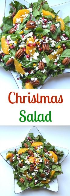 Christmas Salad- loaded with nutritious Swiss chard, oranges, glazed pecans, pomegranate seeds and blue cheese!