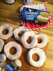 Definitely gonna try this!!! - THIS is how we made doughnuts all through my childhood. And they cook so fast. The blogger says to dip them in cinnamon and sugar and a commenter left her recipe for glaze: 3c powered sugar, 1/2 tsp salt, 1/2 teaspoon vanilla, 1/2 cup cold water or milk. Mix in bowl and dip, dry on cooling rack (with wax paper underneath to catch drips)  Can't wait to try both ways!