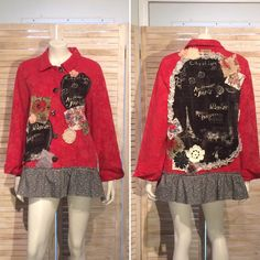 Excited to share the latest addition to my #etsy shop: Upcycled Jacket Tapestry Swing Coat Paris Postcard Print Shabby Chic Boho Chic Patchwork Vintage Lace Doiles Damask Upcycled Clothing L XL #clothing #women #jacket #patchworkjacket #frenchjacket #parispostcardprint #tapestrycoat #swingjacket #recycledjacket