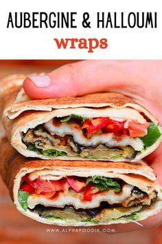 Vegetarian Wraps, Vegan Wraps, Vegetarian Lunch, Halloumi Salad, Grilled Halloumi, Healthy Eggplant, Grilled Eggplant, Eggplant Varieties, Lebanese Garlic Sauce