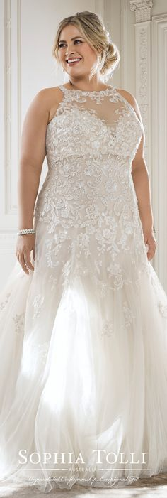 Plus Size Dress by Sophia Tolli Spring 2018 Bridal Collection #weddingdresses #weddinggowns #bridaldress #bride #bridal #bridalgown #brides #weddings