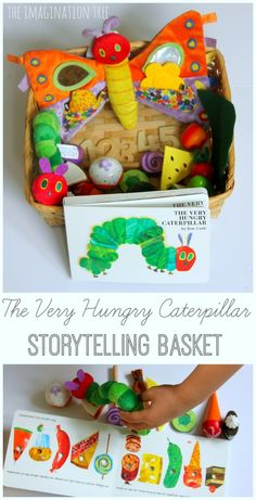 Word Pebbles for Literacy Play The very hungry caterpillar storytelling basket literacy activityThe very hungry caterpillar storytelling basket literacy activity Preschool Literacy, Early Literacy, Literacy Activities, Preschool Activities, Literacy Bags, Literacy Skills, Eric Carle, Dear Zoo, Chenille Affamée