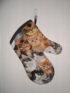 Oven Mitt Cat Oven Mitt Handmade Cute and by MarlenesSewingRoom