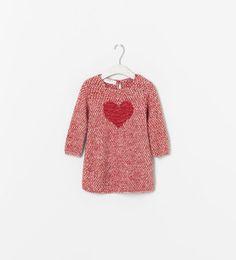 Image 1 of HEART PRINT KNIT DRESS from Zara