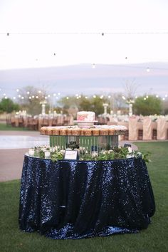 Sequin navy tablecloth  Wedding planned by Ashley Gain, photos by Melissa Jill Photography | junebugweddings.com