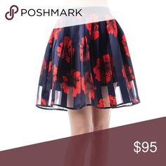 Navy blue red floral skirt NWT Boutique reg $155 Navy blue red floral skirt NWT Boutique regular $155 NEW Small and medium larisa Skirts