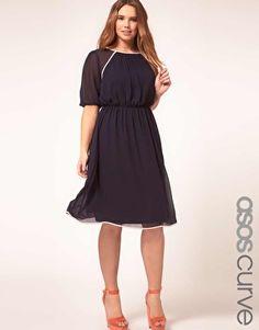 navy chiffon dress with cream piping  #plus #size #fashion #dress