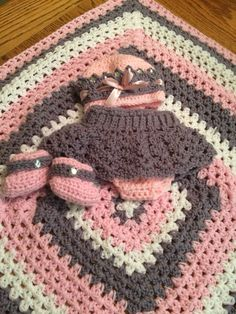Baby princess hat, diaper cover skirt, booties and blanket. Made for a good friend of ours    crocheted