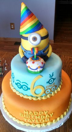 gâteau - Despicable me Party - Torta Minion, Bolo Minion, Minion Cupcakes, Cupcake Cakes, Cake Minion, Minions Minions, Minion Birthday, Minion Party, Birthday Cake