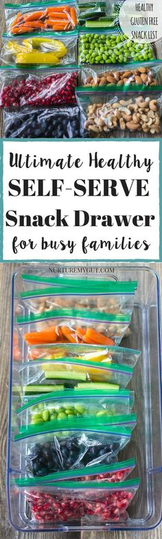 Ultimate Healthy Self-Serve Snack Drawer for busy families. Prep this healthy snack bin in 20 minutes of less! List of healthy snacks for kids: fruits, veggies, proteins and whole grains. Tons of ideas for healthy gluten free snacks for kids! Healthy Protein Snacks, Healthy Snacks For Kids, Healthy Drinks, Healthy Fruits, Eat Healthy, Healthy Snacks Vegetables, Healthy Snack Drawer, Kids Dinner Ideas Healthy, Snack Ideas For Kids