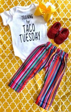 Baby ones with Mexican pants and shoes Baby Outfits, Kids Outfits, My Baby Girl, Our Baby, Baby Girl Onesie, Baby Boys, Baby Girl Shoes, Baby Girl Fashion, Kids Fashion