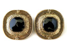 Vintage Large 1980s Gold Tone and Black Enamel Etruscan Styled Pierced Earrings by TheGemmary on Etsy