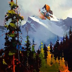 Michael O Toole (* 1963 in Vancouver, British Columbia, Kanada) Watercolor Landscape, Abstract Landscape, Landscape Paintings, Watercolor Paintings, Abstract Art, Watercolour, Mountain Paintings, Canadian Art, Arte Pop