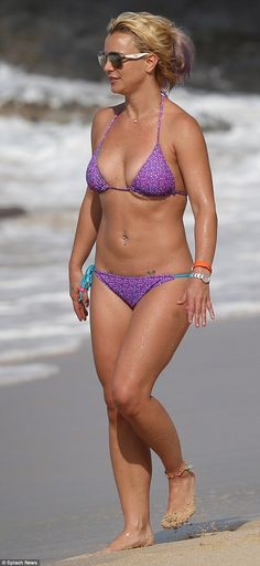 Toned and terrific: Britney Spears looked in great shape when she hit the beach in Hawaii on Friday