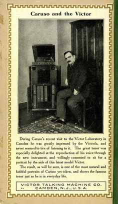 "Caruso was the first example of the ""Trust this famous musician when buying audio gear"" ad I know of, c. 1908:"