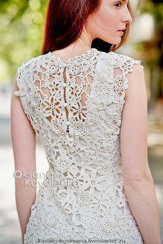 """Купить Платье """"Адель"""" - сцепное кружево, кружево, ирландское кружево, бежевое платье, вечернее платье"""