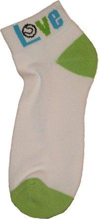 "K Bell Ladies Tennis Socks - ""Love"" (White, Aqua & Lime) Tennis Socks, Tennis Accessories, Golf Outfit, Ladies Golf, Golf Shoes, Golf Bags, Aqua, Lime, Clothes For Women"